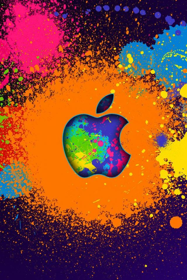 wallpaper iPhone Apple Paint Splatter