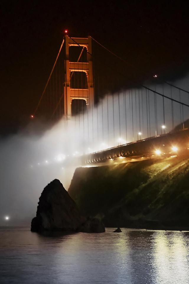 wallpaper iPhone Golden Gate Fog