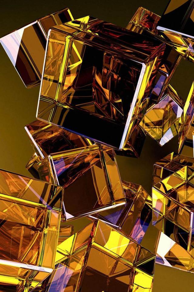 wallpaper iPhone Golden Cubes