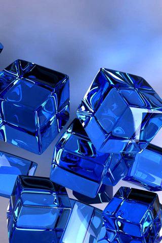 wallpaper iPhone Blue Cubes