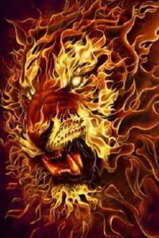 wallpaper iPhone Fire Lion