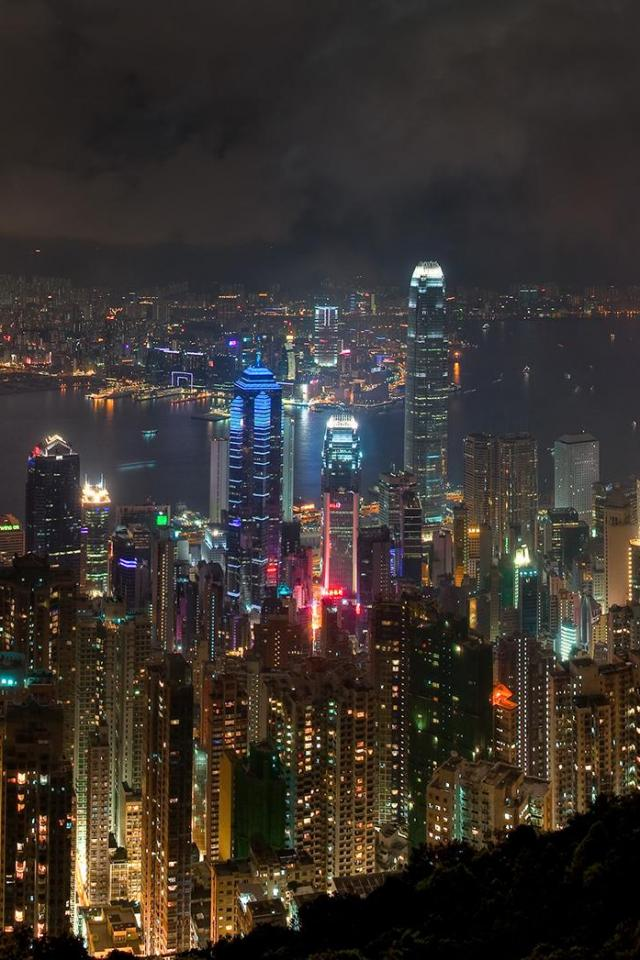 wallpaper iPhone Hong Kong Night