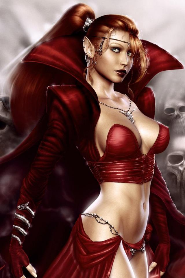 wallpaper iPhone Red Sorceress