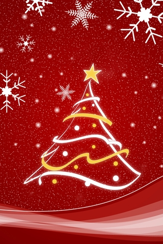wallpaper iPhone Red Christmas Tree
