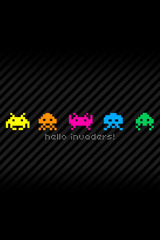 wallpaper iPhone Hello Invaders