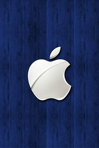 wallpaper iPhone Blue Apple Wood