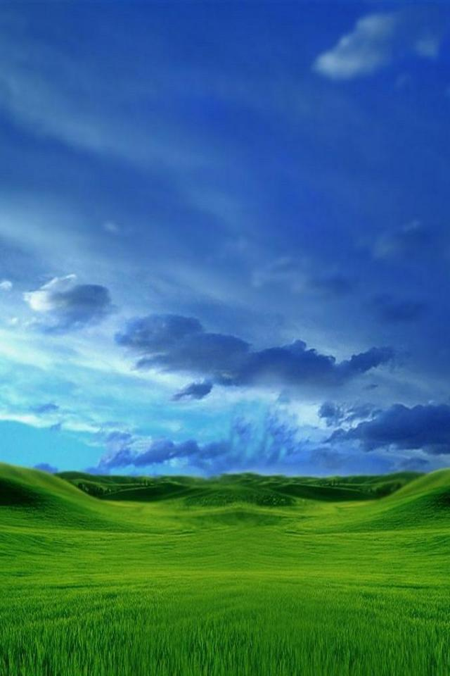 wallpaper iPhone Green Field Blue Sky