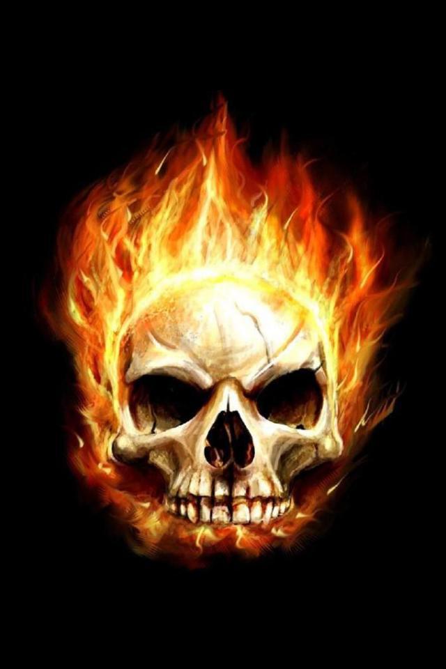 wallpaper iPhone Flaming Skull