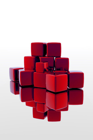 wallpaper iPhone Red Cubes