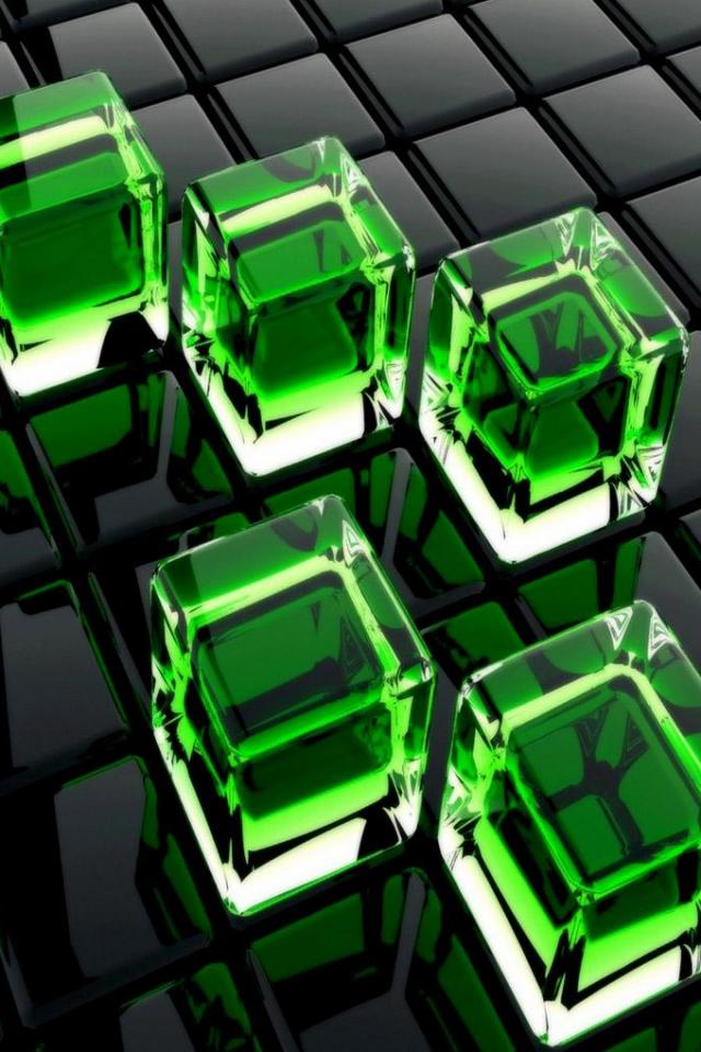 wallpaper iPhone Green Cubes