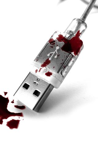 wallpaper iPhone Bloody USB