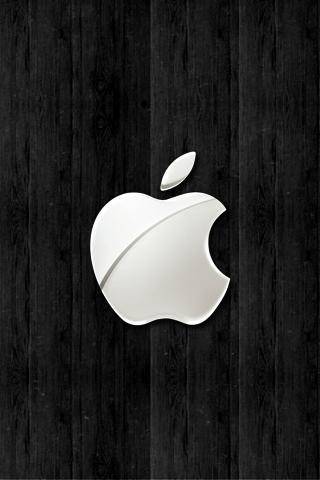 wallpaper iPhone Black Apple Wood