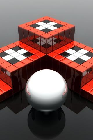 wallpaper iPhone Cubes and Sphere
