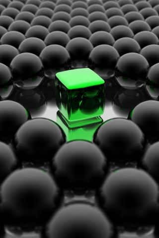 wallpaper iPhone Green Cube