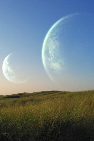 wallpaper iPhone Twin Moons