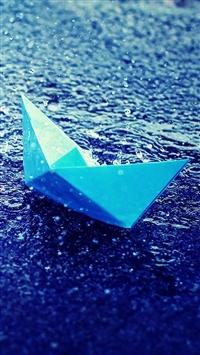 wallpaper iPhone Blue Paper Boat in Rain 6
